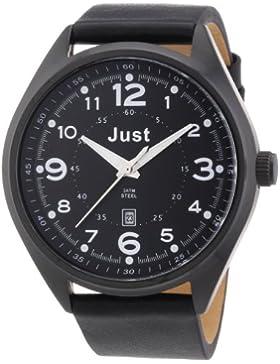 Just Watches Herren-Armbanduhr XL Analog Quarz Leder 48-S1231BK-BK