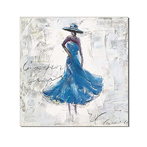 Redland Art Oil Paintings On Canvas Dancing Lady Artwork Framed Stretched Ready to Hang for Home Wall Decor - Blue 30 x 30