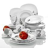 Veweet 'Melody' Servizio da tavola in porcellana 30 pezzi servizio combinato di tazze da caffè 175ml, piattino, piatti da dessert, piatti da portata e piatti a base di zuppa per 6 persone