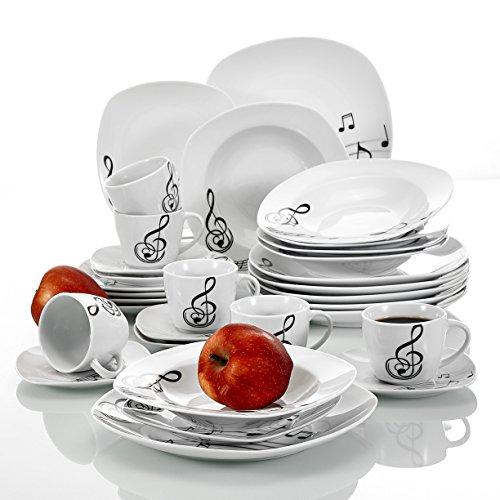 VEWEET Melody 30 Piezas Vajillas de Porcelana económica Juegos con 6 Taza 175 ml, 6 Platillo, 6 Platos, 6 Platos de Postre y 6 Platos Hondos para 6 Personas