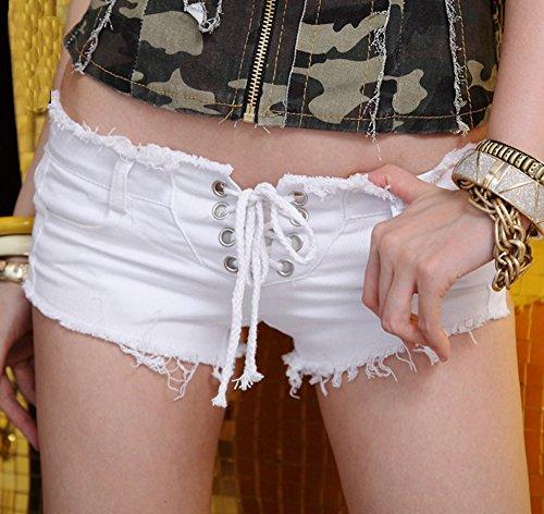 Donne Jeans Vita Bassa Coulisse Pantaloni Corti Denim Clubwear Bianco