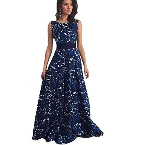 Vestido de mujer, Dragon868 Floral formal de boda larga fiesta de la mujer vestido (XL, Azul)