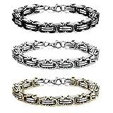 Adramata 2-3 Pcs Silber Schwarz Armband für Herren Edelstahl Biker Armband Männer 8.0-9.1 Zoll