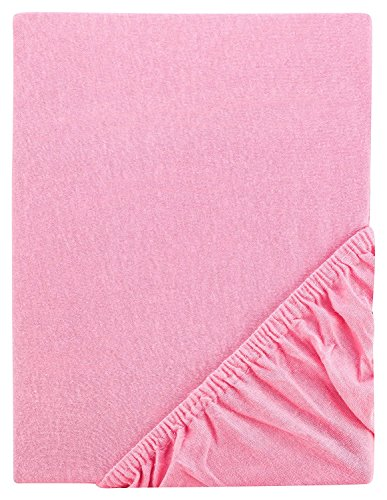 Aminata Kids Spannbettlaken 70x140 cm rosa pink Feinjersey Jersey Spannbetttuch Kinderbett (Qualität Jersey Jugend)