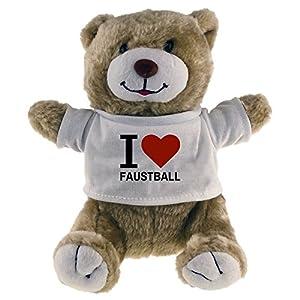 Multifanshop Kuscheltier Bär Classic I Love Faustball beige - Lustig Witzig...