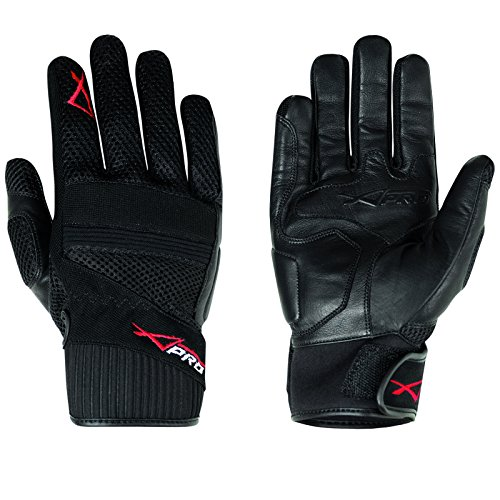Hoehe Qualität Leder Textil Handschuhe Sommer Motorrad Roller Fahrrad Schwarz XS