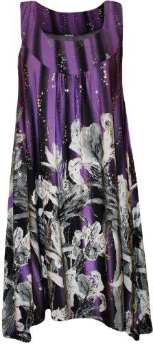 WearAll - Übergröße Damen Pailletten Druck Ärmellos Lang Swing Vest Top - 5 Mustern - Größen 42-56 Violett