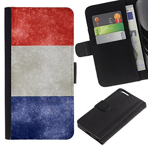 """Graphic4You Vintage Uralt Flagge Von Italien Design Brieftasche Leder Hülle Case Schutzhülle für Apple iPhone 6 Plus / 6S Plus (5.5"""") Frankreich Französisch"""