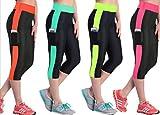 Running Gimnasio y Fitness Mujer Esterilla de yoga para mujer tres cuartos 3/4Pantalones, mujer, rosa