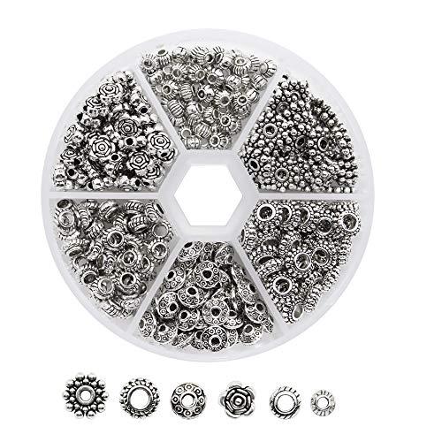 Dreamtop Distanzhalter für Schmuckherstellung, tibetisches Silber, Metall, 1 Box, 300 ()