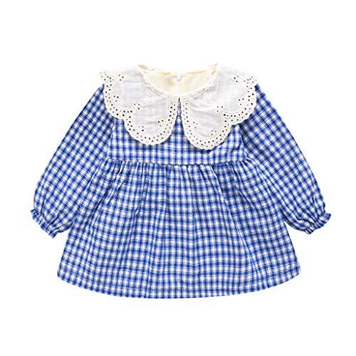 Livoral Baby Langarm Spitze Plaid Print Prinzessin Kleid Kleidung(Blau,6-12 Monate)