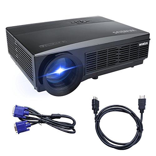 Beamer HD Projektor LED-Beamer 3300 Lumen 1280*800 Unterstützt 1080P Beamer Full HD für Heimkino Multimedia(T6-Schwarz)