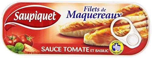 Saupiquet Filets de Maquereaux Sauce Tomate et Basilic la Boîte 169 g - Lot de 5