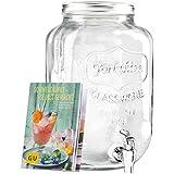 Levivo Dispensador de bebidas de vidrio, incluye libro de recetas de bebidas veraniegas en alemán
