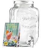 Levivo Distributeur de boisson en verre avec un robinet, idéal pour le bar à la maison / y compris le livret GU exclusif Sommerdrinks– selbst gemacht gratuit, capacité de remplissage 8 litres