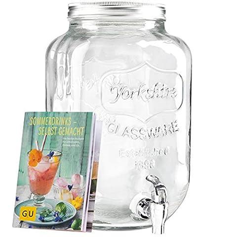"""Levivo Getränkespender aus Glas, mit Zapfhahn, ideal für die Bar im Haus / exklusives GU Booklet """"Sommerdrinks– selbst gemacht"""" gratis zum Getränkespender mit Zapfhahn, 8 Liter Füllvolumen"""