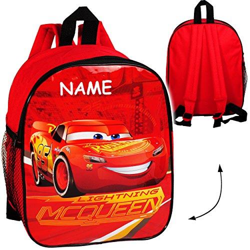 Kinder Rucksack -  Disney Cars - Lightning McQueen  - incl. Name - wasserfest & beschichtet - Kinderrucksack mit Seitenfach / groß Kind - Jungen - Tasche - .. ()