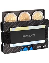 SLIMPURO Kreditkartenetui mit Münzfach ATTO - Carbon Slim-Wallet mit Aluminium CoinCard – TÜV RFID/NFC Schutz - Premium Kartenetui mit Geldklammer - Mini Geldbörse Geldbeutel