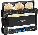 SLIMPURO Kreditkartenetui mit Münzfach ATTO - Carbon Slim-Wallet mit Aluminium CoinCard – TÜV RFID / NFC Schutz - Premium Kartenetui mit Geldklammer - Mini Geldbörse Geldbeutel
