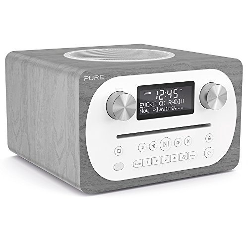 Pure Evoke C-D4 All-in-One-Musikanlage (CD, DAB/DAB+, Digitalradio, UKW-Radio, Internetradio, Bluetooth, Weckfunktionen und Sleep-Timer, 20 Senderspeicherplätze, AUX), Graue Eiche