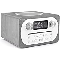 Pure Evoke C-D4 All-in-One Music System with DAB/DAB+/FM Digital Radio, Bluetooth Music Streaming, Dual Alarms and CD Player - Grey Oak
