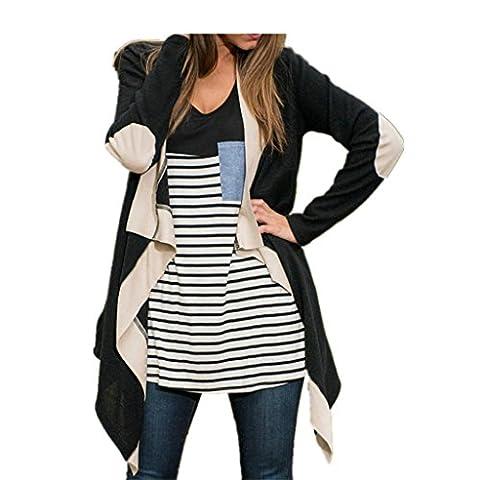 KanLin Damen Pullover Casual Coat Loose Bluse Kimono Jacke Strickjacke (XXL( EU 40 ), Schwarz)