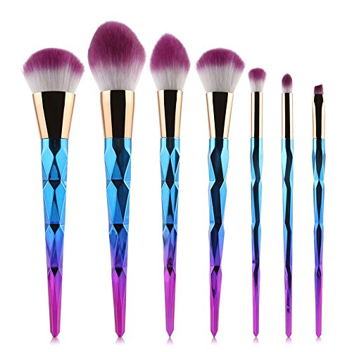 7 tlg. Einhorn Make-Up Pinsel Set Pinselset Unicorn Schminkset Pink-Blau
