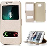 "Coque S7 Edge 5,5"", Badalink Housse Étui Case de Protection en PU Cuir Flip Cover Bookstyle Support Ultra Mince Léger Ouverture la Fenêtre Vue Window View Fermeture Aimantée pour Samsung Galaxy S7 Edge Coque - Or"