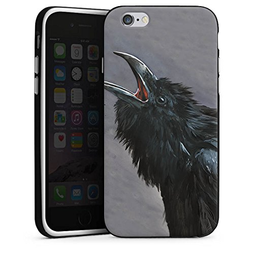 Apple iPhone X Silikon Hülle Case Schutzhülle Rabe Vogel Raben Silikon Case schwarz / weiß