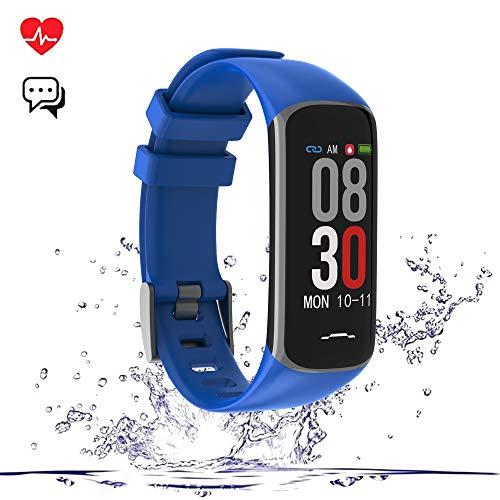 TEAMYO Fitness Armband, Fitness Tracker mit Pulsmesser und IP67 Wasserdicht Fitness Uhr, Blutdruck und Schlafmonitor Schrittzähler, Smart Watch with Vibration Wecker für Damen Herren IOS Android (B2)