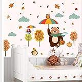 ZBYLL Wall Sticker Cartoon tragen Eulen Baum Wandtattoos für Kinder Zimmer Home Dekorationen PVC-Tiere DIY Wandmalerei Kunst Poster Kinder Geschenk