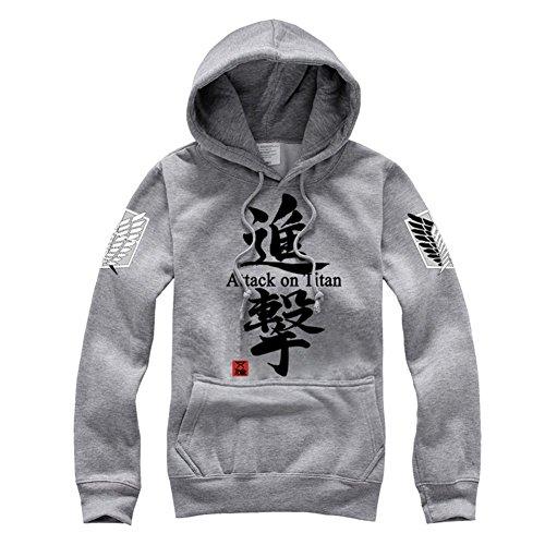 Preisvergleich Produktbild RoleplayShop Pullover,  inspiriert von Shingeki no Kyojin,  Attack on TItan,  Survey Corps,  Flügel-Logo,  Cosplay,  Kostüm,  Reißverschluss,  mit Kapuze Gr. M,  Gris 3