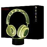 HPBN8 3D Kopfhörer Illusions LED Lampen Tolle 7 Farbwechsel Acryl berühren Tabelle Schreibtisch-Nacht licht mit USB-Kabel für Kinder Schlafzimmer Geburtstagsgeschenke Geschenk