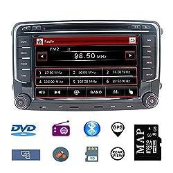 Stereo Home Autoradio 2 Din Car Stereo Satellite Navegador GPS de 7 pulgadas para VW Estéreo para Automóvil con Reproductor de CD/DVD, GPS USB SD FM AM RDS Bluetooth SWC Wince 6.0 (con Mapa de 8GB)