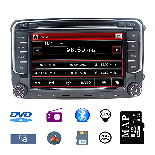 Stereo Home 7 Zoll 2 Din Autoradio Naviceiver für VW Jetta Golf Passat mit DVD CD Player GPS Navigation USB SD CANBUS FM AM RDS Bluetooth Lenkrad Bedienung 720P Video Wince 6.0 SWC 8GB Kartenmaterial (Dvd-mit Bluetooth Auto Stereo)