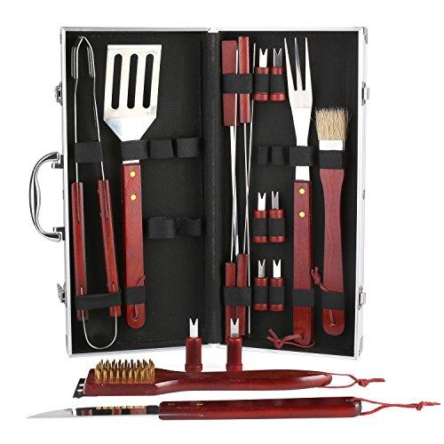 Fixkit 18-teilig Grill-set, Grillbesteck-Set, outdoor grill, BBQ Grill, barbecue set, Grillbesteck Set im Aluminium Koffer BBQ Grill-Utensilien Edelstahl (Grill-bbq-grill-set)