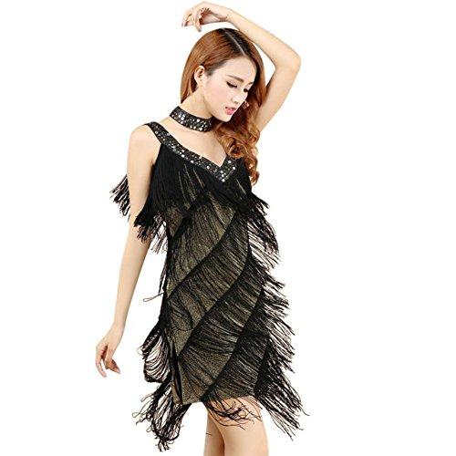 Brightup Frauen Latin Quaste Sequins Kleid mit Halskette (Pailletten & Fringe Gold Flapper Kostüme)