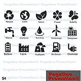 Piktogramm Typ 54 Icon Symbol Zeichen 15er Set Wind Energie Strom Umwelt Wasser Recycling Benzin Erde Solar Aufkleber ca.15cm von Pegatina Promotion® Aufkleber mit Verklebehilfe von Pegatina Promotion® ohne Hintergrund geplottet