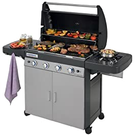 Campingaz Barbecue Gas 4 Series Classic LS Plus, Grill Barbecue con 4 Bruciatore e 1 a Lato, Potenza 12.8 kW, Sistema di Pulizia Facile InstaClean, Griglia e Piastra in Ghisa, 2 Tavoli a Lato