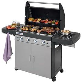 Campingaz 4 Series Classic LS Plus Gas Grill Barbecue con 4 Bruciatori, Sistema di Pulizia Facile InstaClean, 2 Tavoli a Lato, Grigio, 160.3 x 60 x 115.6 cm