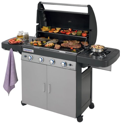 Campingaz Gas BBQ 4 Series Classic LS Plus, 4+1 burner stainless steel gas barbecue, large gas grill with side burner, cast iron grid & griddle, plancha, garden grill, easy bbq cleaning