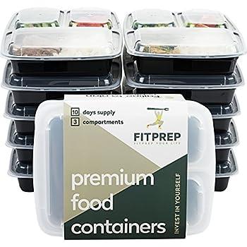 FITPREP Original [10er Pack] 3-Fach Meal Prep Container | Stabil, Verstärkt, Qualitativ Hochwertig, Zertifiziert | Die Besten und Daher von Amazon für Meal Prep Empfohlen | Modell: FP31-C