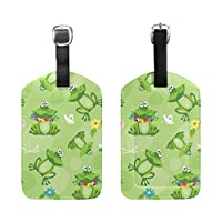 BENNIGIRY Water Lily Funny Frog Luggage Tags Travel Labels Tag Name Card Holder for Baggage Suitcase Bag Backpacks, 1 PCS