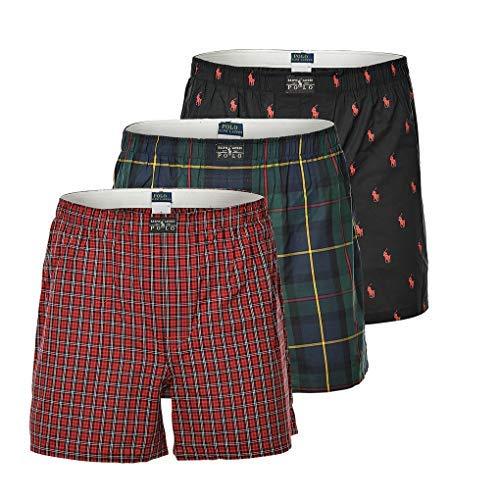 Polo Ralph Lauren Herren Shorts 3er Pack, Webboxershorts, Webshort - Schwarz/Rot: Größe: S (Gr. Small)