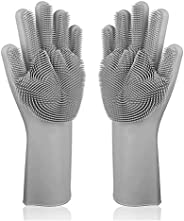GAHI Silicone Non-Slip, Dishwashing and Pet Grooming, Magic Latex Scrubbing Gloves for Household Cleaning Grea