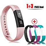 RobotsDeal Fitness Trackers Sleep Tracker Self Timer Fitness watches With Calorie Counter,Step Pedometer,Fitness Watches With 3PCS Straps for iPhone & Other Android or iOS Smartphones (Pink)