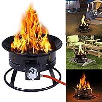 Portable Gas Fire Pit Outdoor 58,000 BTU Propane Patio Heater Lava Rocks Camping Garden BBQ Fireplace