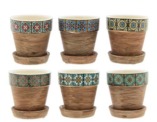 Mini-Keramik-Pflanzgefäße, mit Untersetzer, mediterranes Fliesenmotiv, 6 Stück