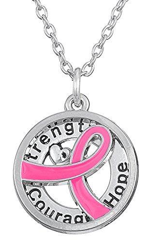 mit Anhänger Brustkrebs Pink Schleife Kraft Mut Hoffnung Geschenk ()