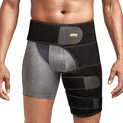 Oberschenkelbandage kompression Hüft oberschenkel bandage mit klettverschluss für Oberschenkel und Ischiasnerven Schmerzlinderung, Prävention von Muskelzerrungen und Rehabilitation(Schwarz)